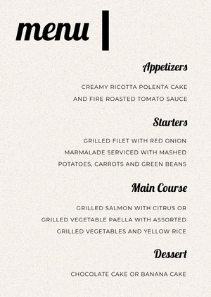 Black and White Modern Wedding Menu Menú