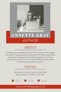 Red And Grey Square Simple Author Pinterest Post Social Media Flyer