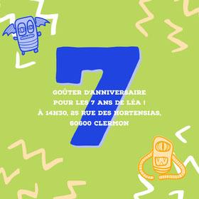 Green Monsters 7th Birthday Invite Square  Invitation d'anniversaire