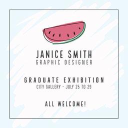 Blue and White Graphic Designer Graduate Exhibition Instagram Square
