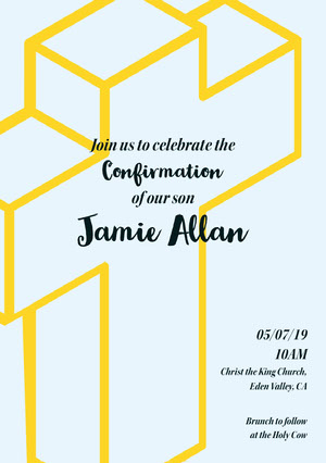 Blue, Yellow and Black, Light Toned Confirmation Invitation Confirmation Annoucement