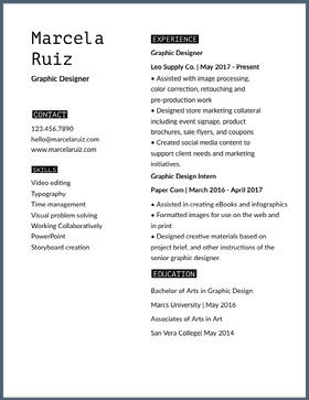 Marcela Black and White Professional Resume Professional Resume