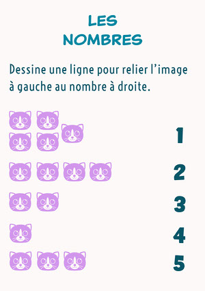 Purple and white Numbers Activity Worksheet  Modèles gratuits de feuilles de calculs de maths