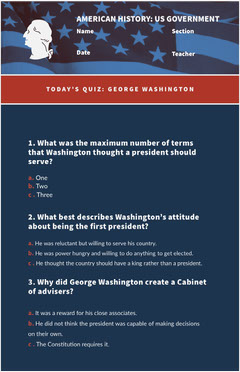 Blue and White American History Worksheet History