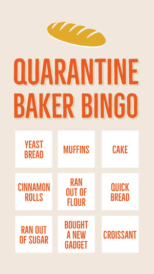 Red Bread Illustration Quarantine Baking Bingo Card Quarantine Bingo Card