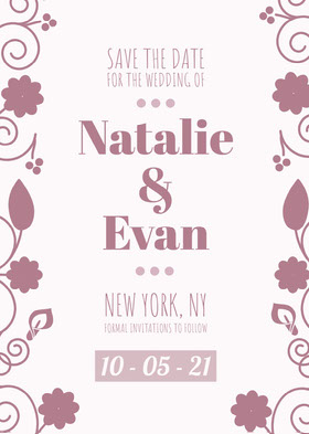 Natalie<BR>&<BR>Evan Save the date -kortti