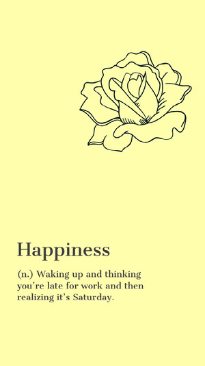 Yellow and Black, Minimalistic Happiness Definition Instagram Story iPhone-Hintergrundbild