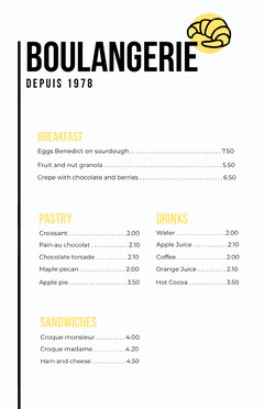 Yellow Croissant Restaurant Menu Breakfast