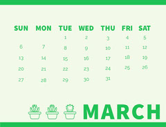 Green March Calendar with Houseplants Cactus