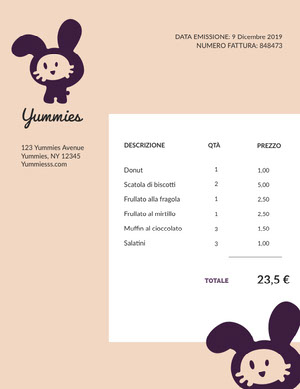 food invoice  Fattura