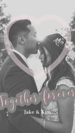 Beige and Black and White Wedding Instagram Story with Bride and Groom Heart