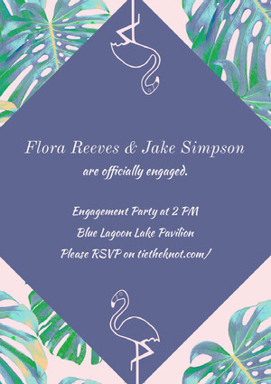Violet and Green Engagement Party Invitation Faire-part de fiançailles