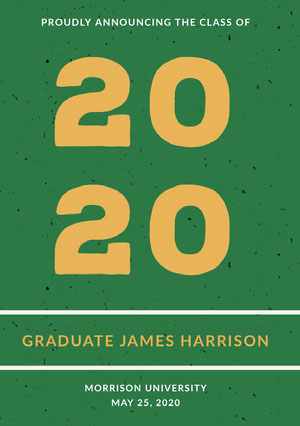 Green and Orange Graduation Announcement Card Graduation Announcement