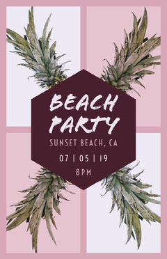 Violet and White Beach Party Poster Beach
