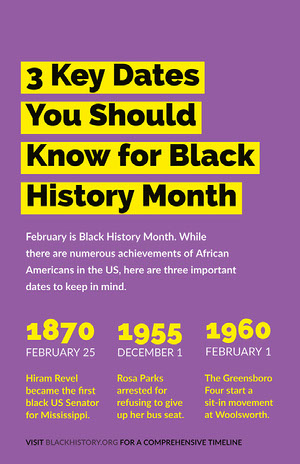 Purple and Yellow Black History Month Infographic Black History Month Poster