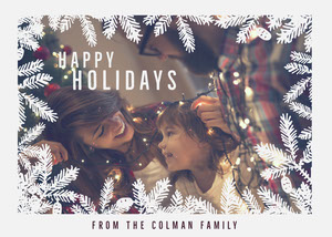 Christmas Branches Frame Happy Holidays Card with Playful Family Photo Christmas Card