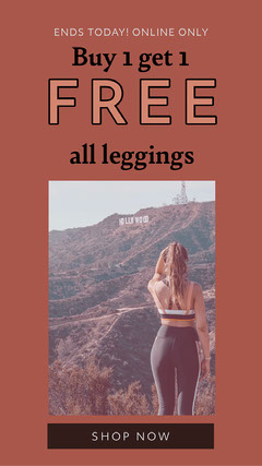 Red, Brown and Light Toned Leggins Ad Instagram Story Bogo