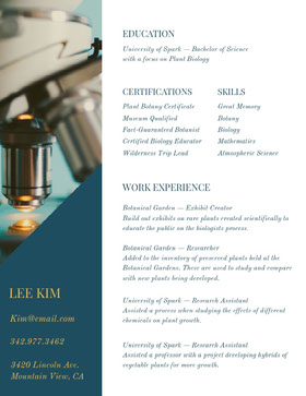 Blue Botanist Resume with Microscope Creative Resume