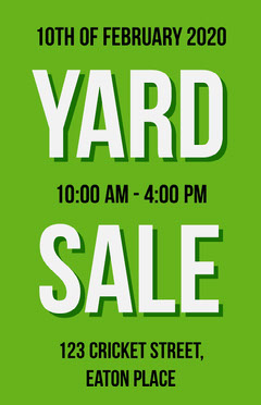 Green Typography Yard Sale Flyer Typography