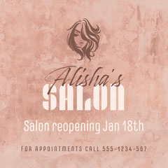 Blush Pink Alisha's Salon Reopening Instagram Square  Beauty Salon