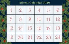 Navy Green Floral Advent Calendar Poster Countdown