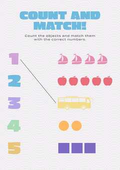 Colorful, Light Toned, Count and Match Worsheet Preschool Flyer