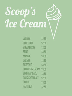 White and Green Ice Cream Menu Ice Creams