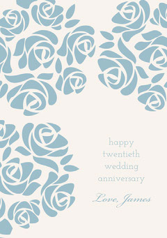 Blue Elegant Floral Happy Marriage Anniversary Card with Roses Couple