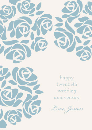 Blue Elegant Floral Happy Marriage Anniversary Card with Roses Biglietto di anniversario