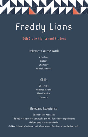 Navy Blue and White Professional Resume High School Resume
