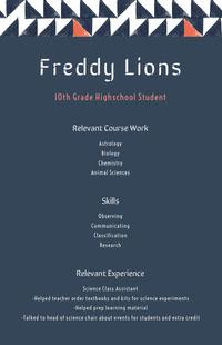 Freddy Lions High School Resumes