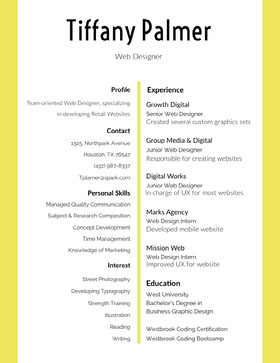 White and Yellow Web Designer Resume Modern Resume