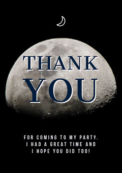 Moon Halloween Costume Party Thank You Card Halloween Party Thank you Card