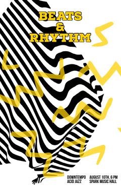 Yellow and Black Jazz Music Concert Poster Jazz