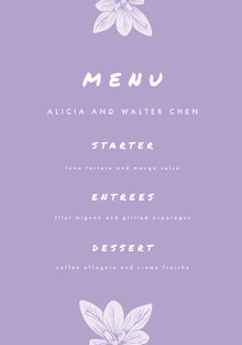 Violet and White Wedding Menu Menu bruiloft
