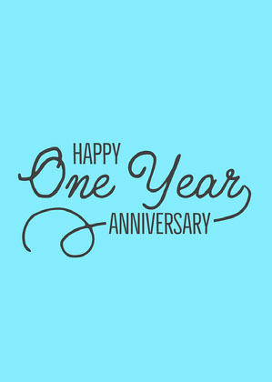 Blue & Black One Year Anniversary Card Anniversary Card Messages