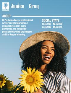 Blue Sky And Yellow Sunflower Janice Gray Media Kit Career Poster