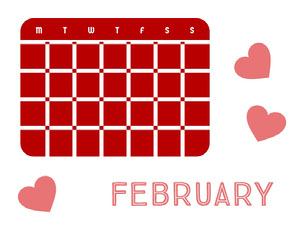 Red and White Empty Calendar Card Monthly Calendar