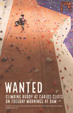 Rock Climbing Buddy Wanted Flyer Sports