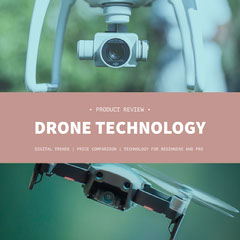Brown and Green Drone Review Square Instagram Graphic Tech