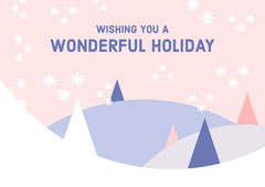 Pastel Colors Geometric Scenery Happy Holidays Card Trees