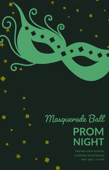 Black and Green Masquerade Ball High School Prom Poster with Mask School Posters