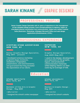 Teal and Orange Graphic Designer Resume Creative Resume