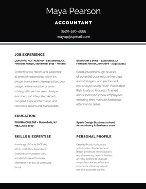 Black and White Accountant Resume Resume  Examples