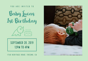 Blue Baby Lucas 1st Birthday Card Birthday Invitation (Boy)
