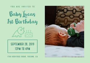 Blue Baby Lucas 1st Birthday Card 첫 번째 생일 초대장