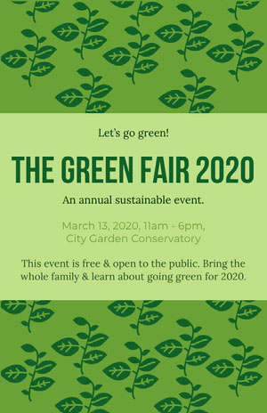 Green Environmental Fair Flyer with Plants Pôster de evento