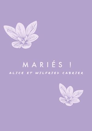 floral purple wedding announcements  Faire-part d'annonce de mariage