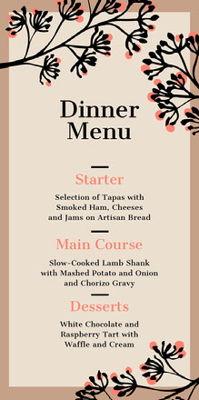 brown border wedding menu  Wedding Menu