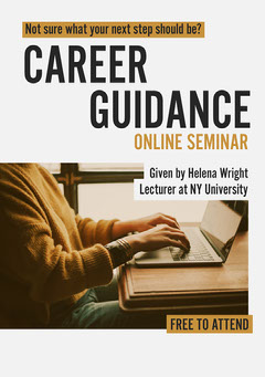 Grey & Mustard Student on Laptop A5 Flyer Career Poster